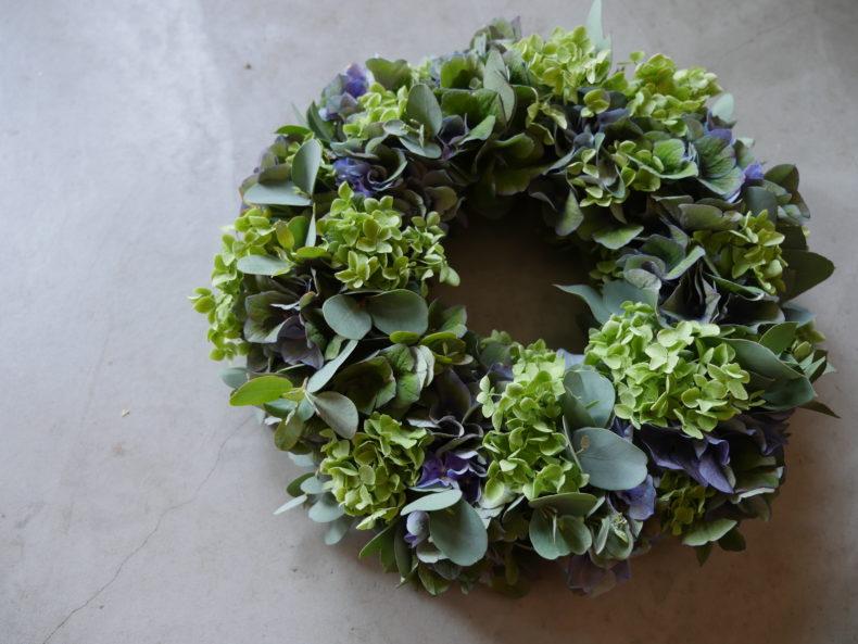 紫陽花のリースレッスン